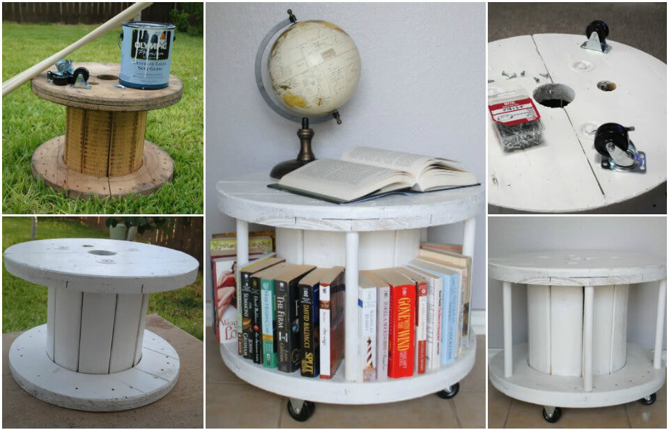 Spool Coffee Table with Built-in Bookcase: - 20 Easy & Free Plans To Build A DIY Coffee Table - DIY & Crafts