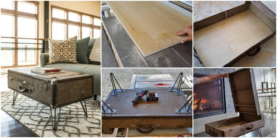 repurposed suitcase coffee table
