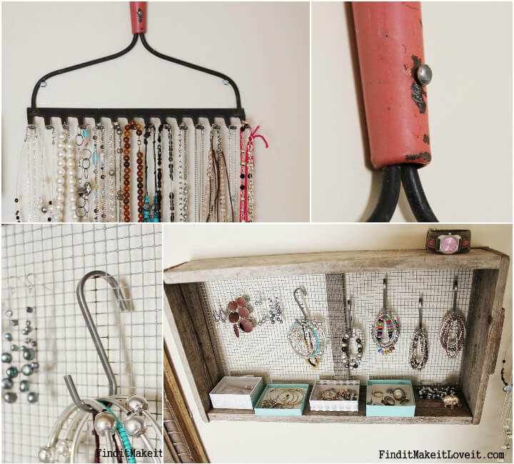 old rake into vintage jewelry organizer