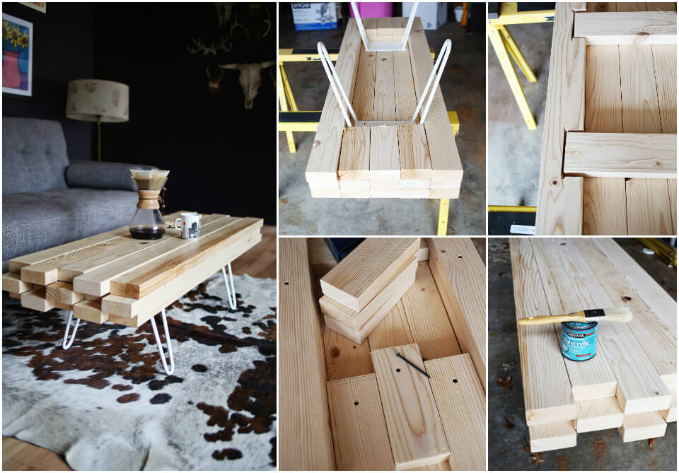 low-cost wooden coffee table with metal legs
