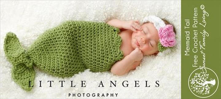 adorable crochet mermaid tail baby cocoon and headband!