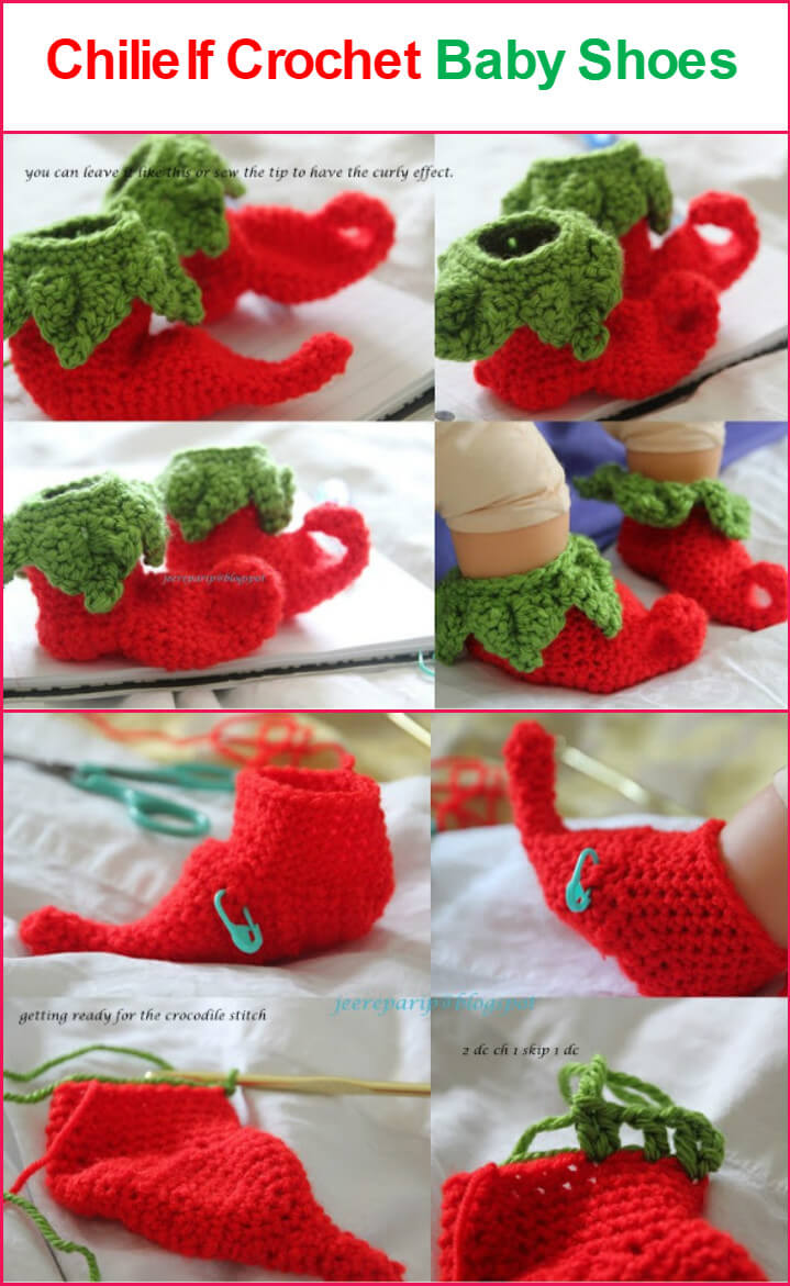 free crochet chillielf baby shoes pattern