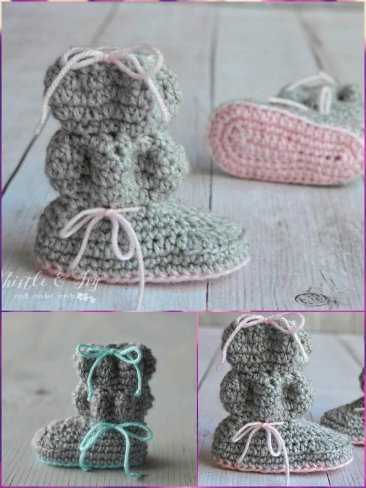 free crochet baby bubble booties pattern