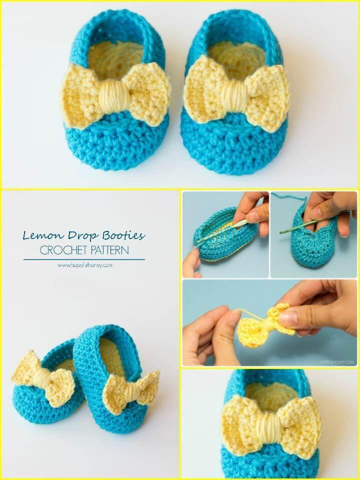 crochet lemon drop baby shoes