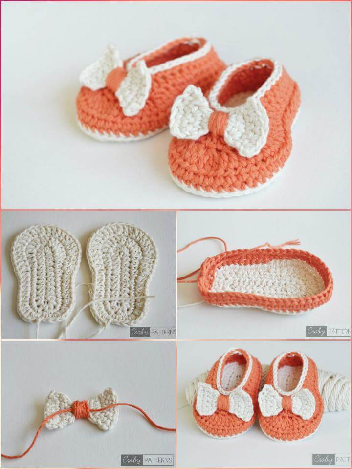 free crochet orange baby bow shoes pattern