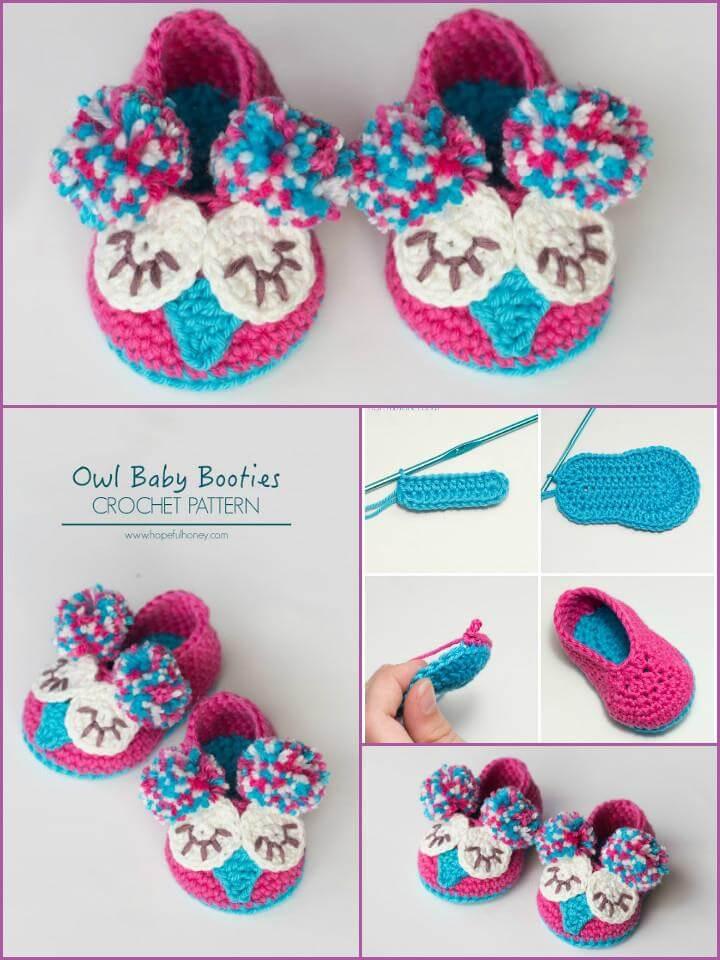 free crochet owl baby booties pattern