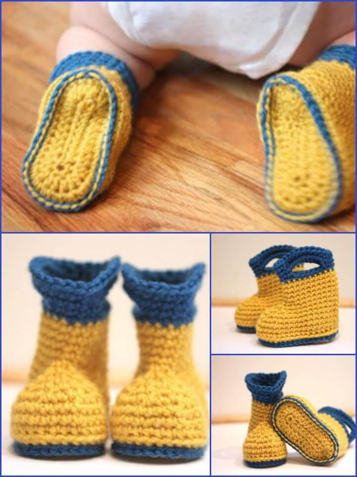 free crochet rain baby boots