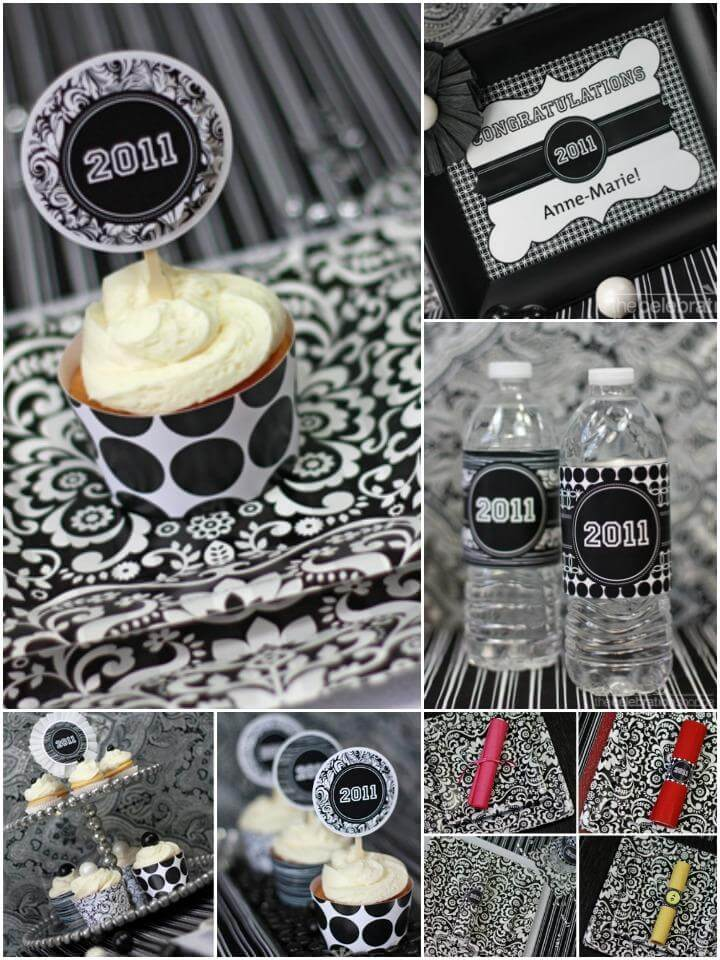 precious black and white polka dot graduation party theme