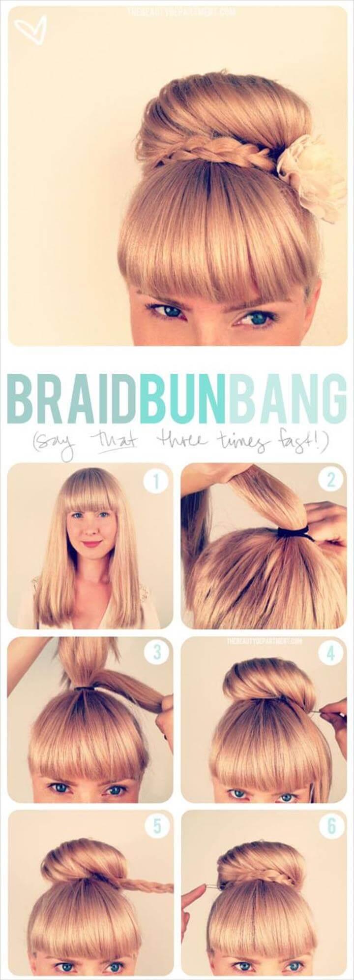 cute braid updo bun bang hairstyle