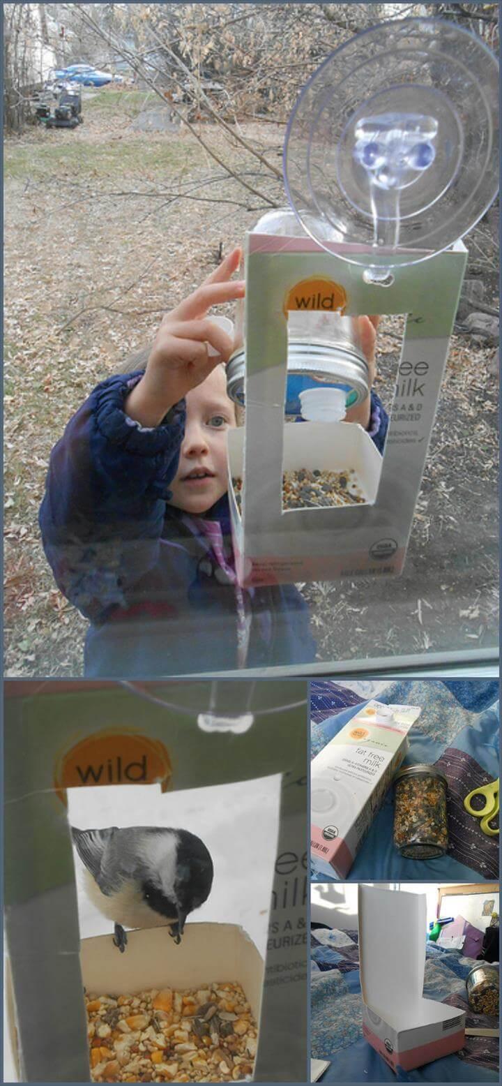 quick kid-made window bird feeder