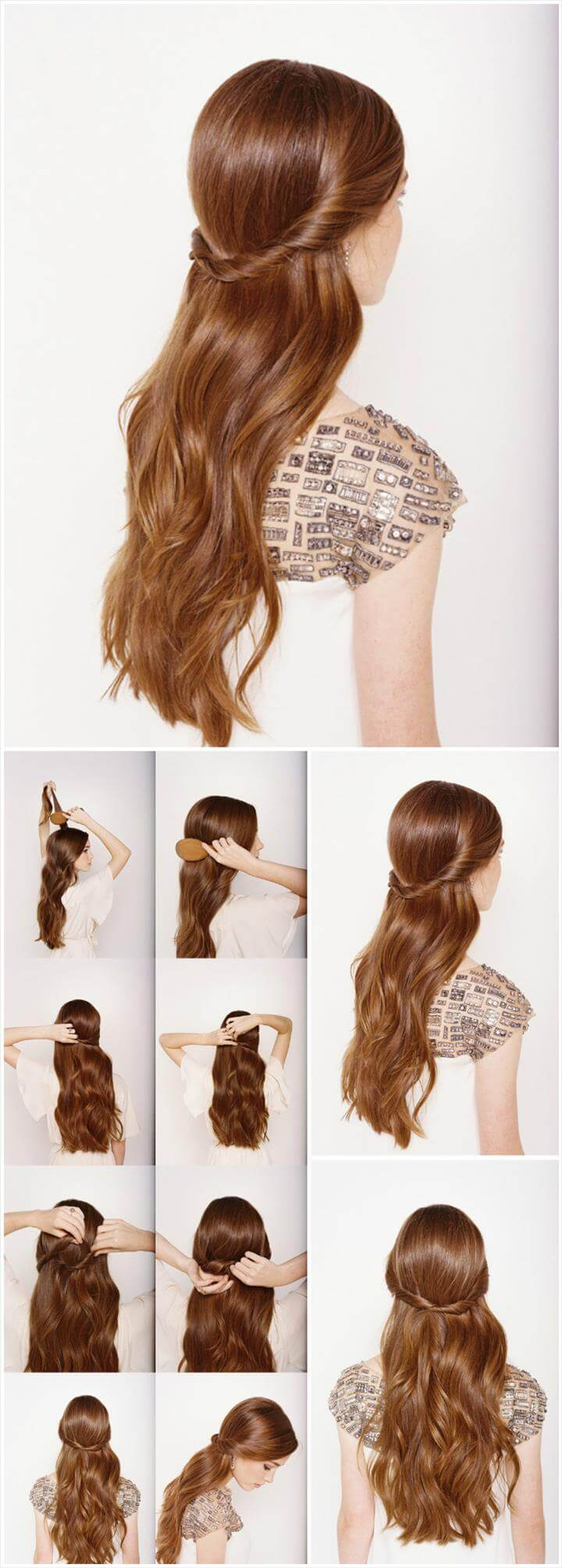 cute half up and half down wedding hairstyle
