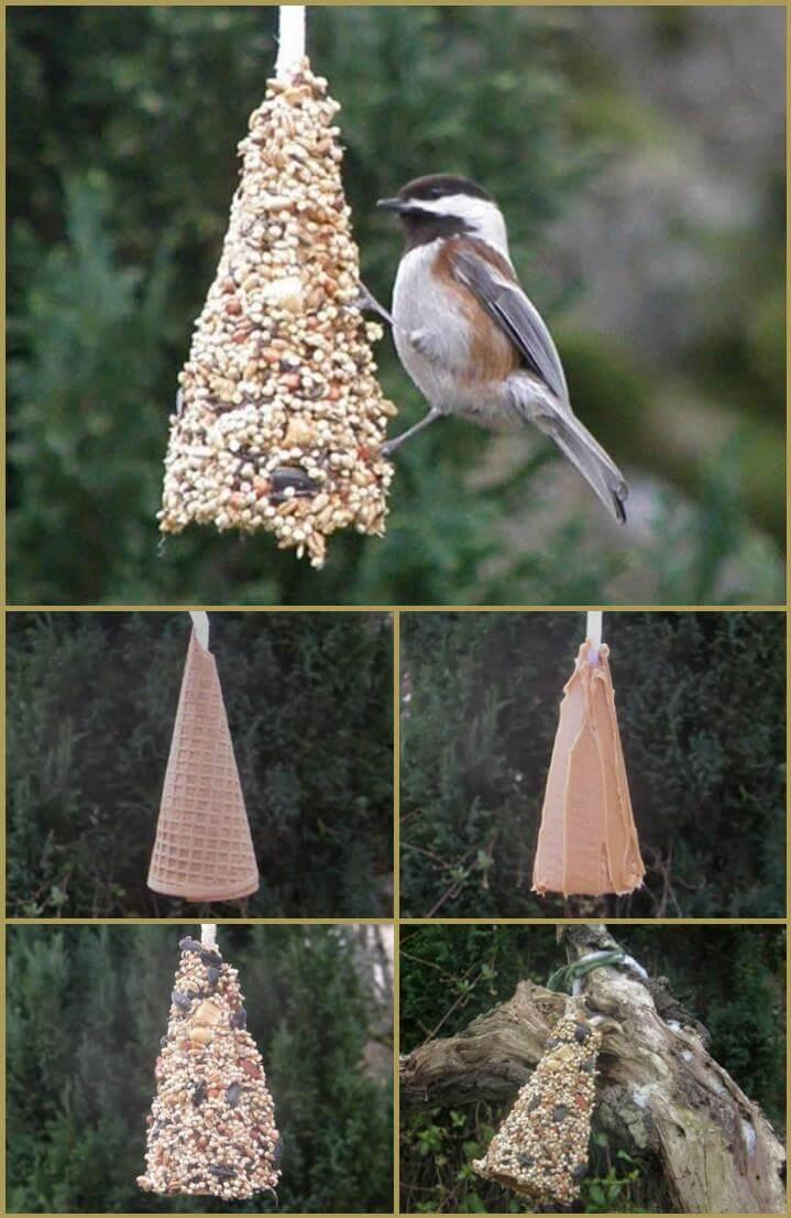 repurposed ice cream bird feeder
