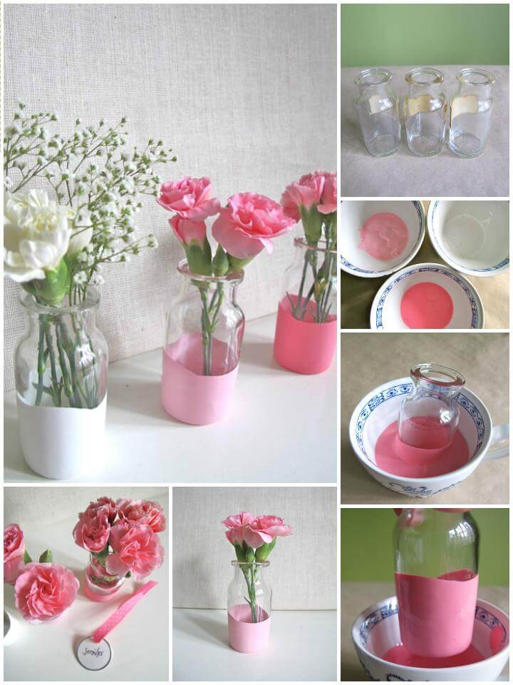 DIY paint dipped glass vases