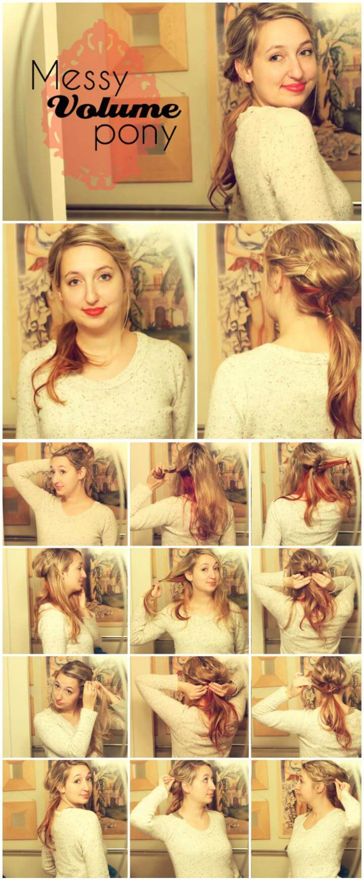 cool messy volume ponytail hairstyle