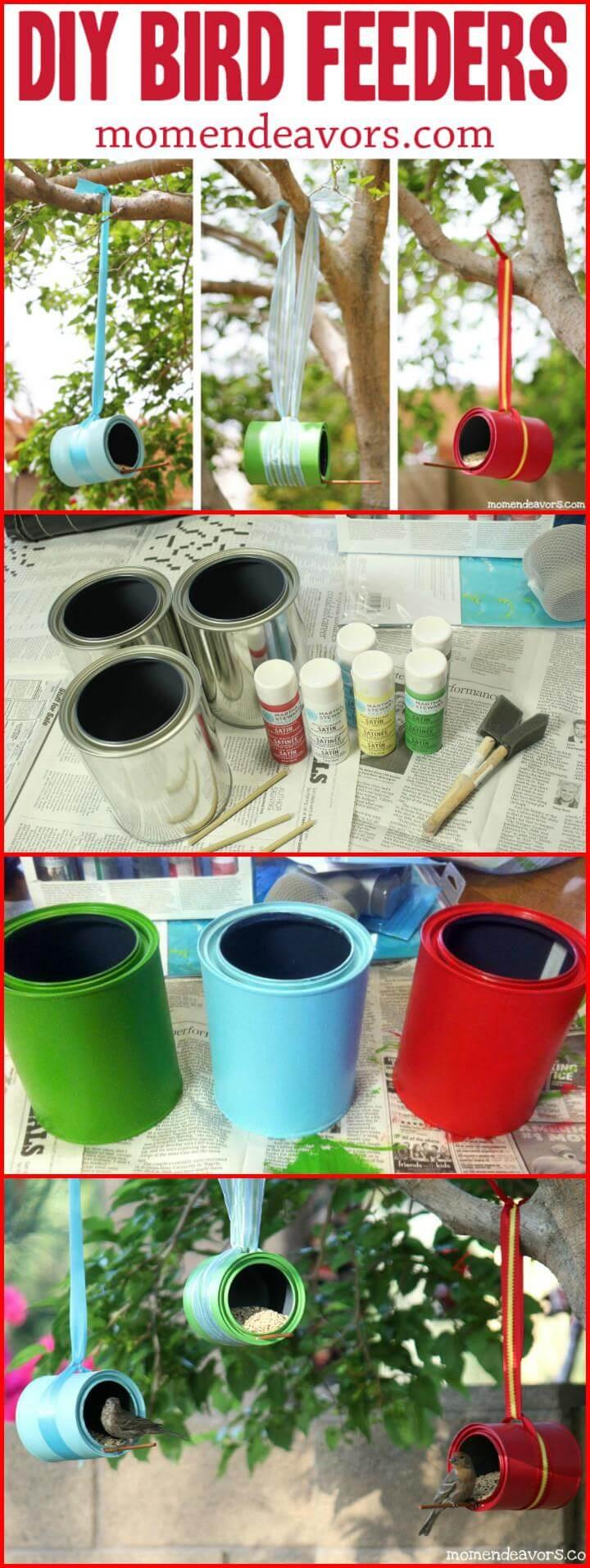 repurposed paint can hanging garden bird feeders