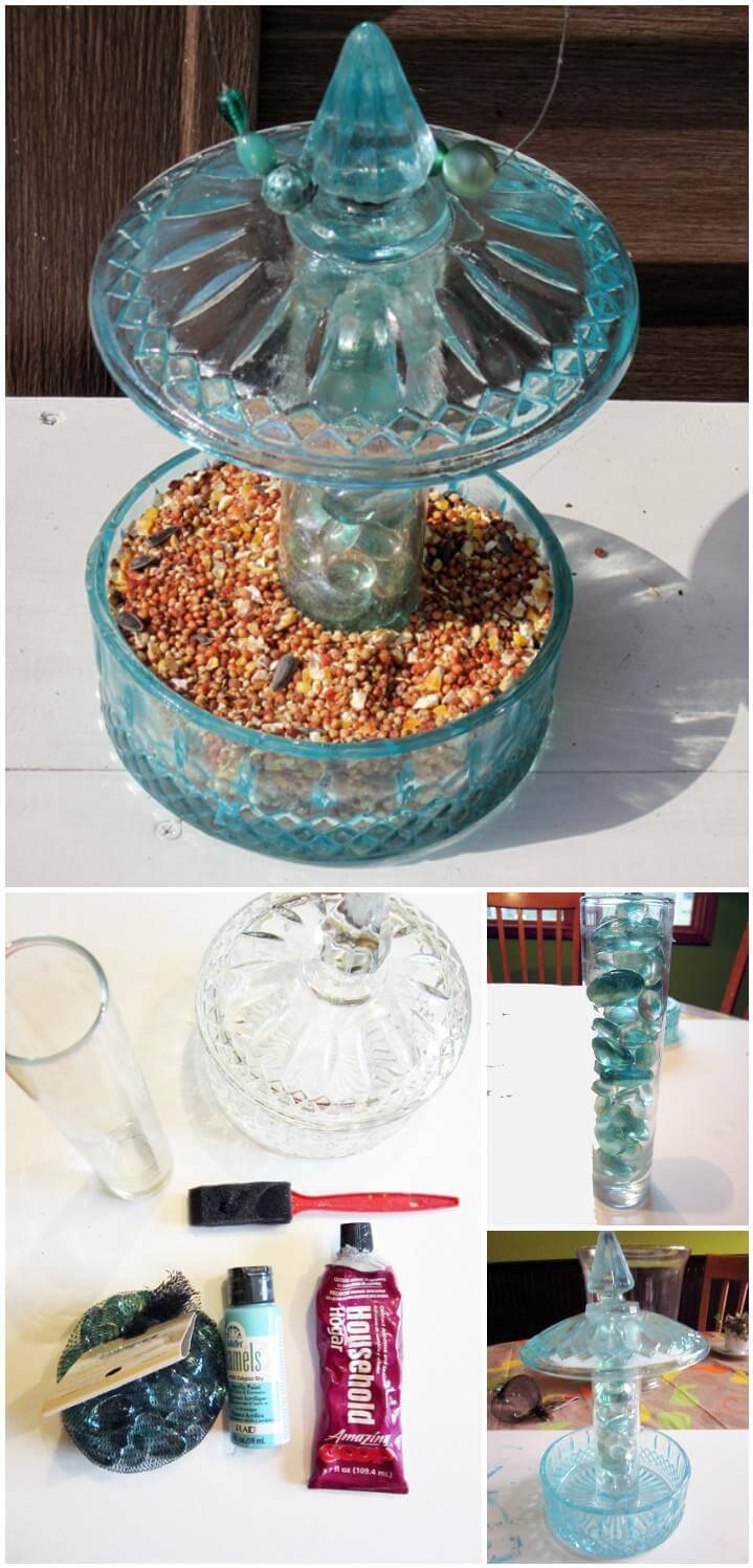 reclaimed candy jar bird feeder