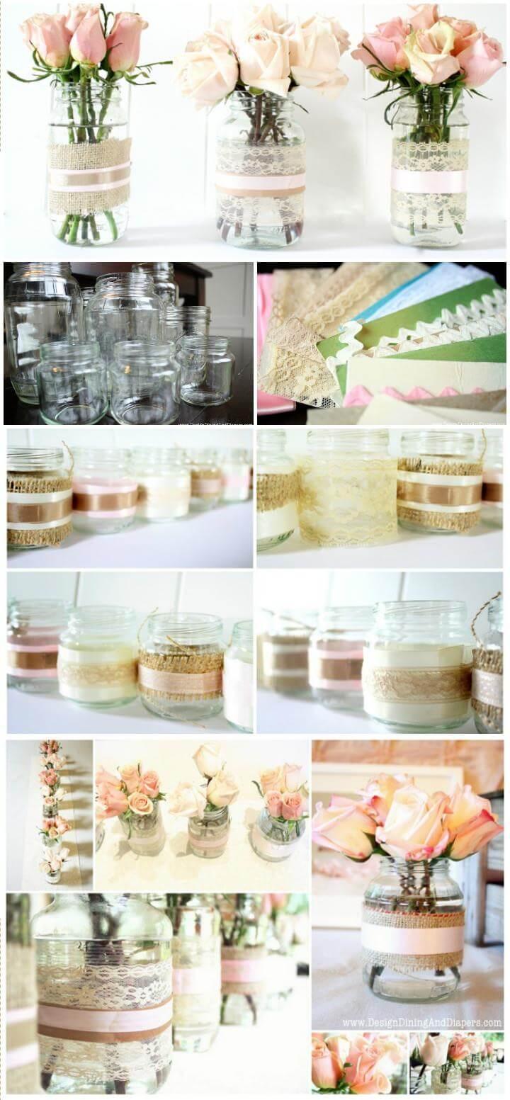 DIY reclaimed jar votive or vases