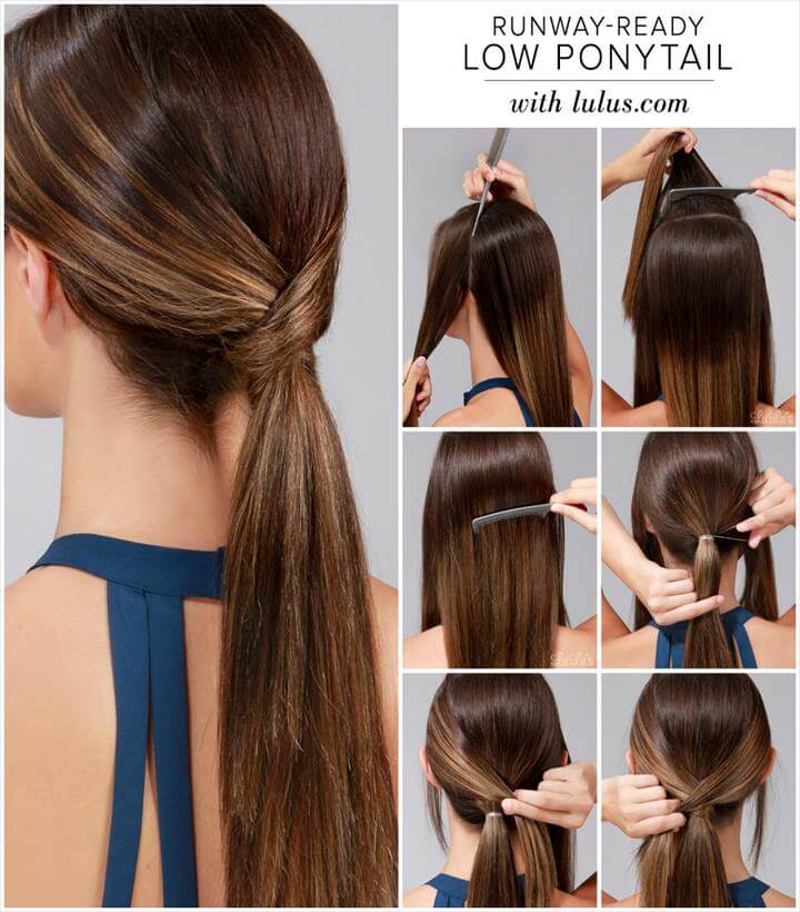 run-way read low ponytail hairstyle tutorial