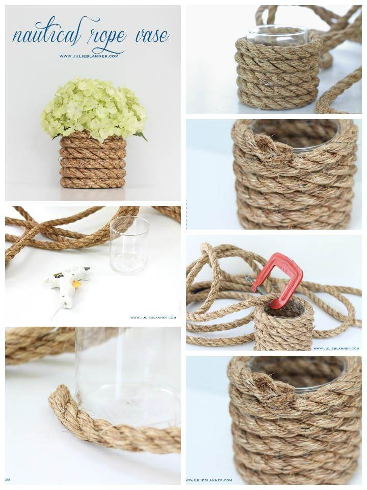 100 diy vases or centerpiece unique ways to diy your for Where to buy nautical rope for crafts