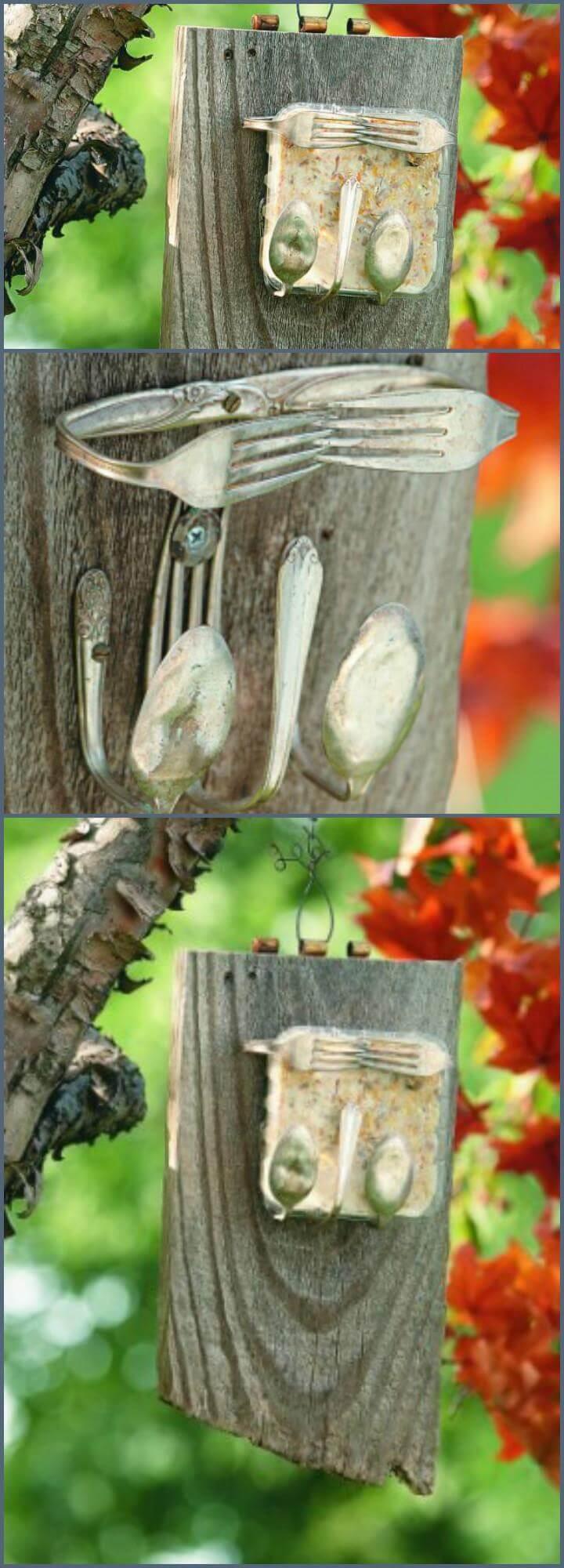 handmade silverware suet bird feeder