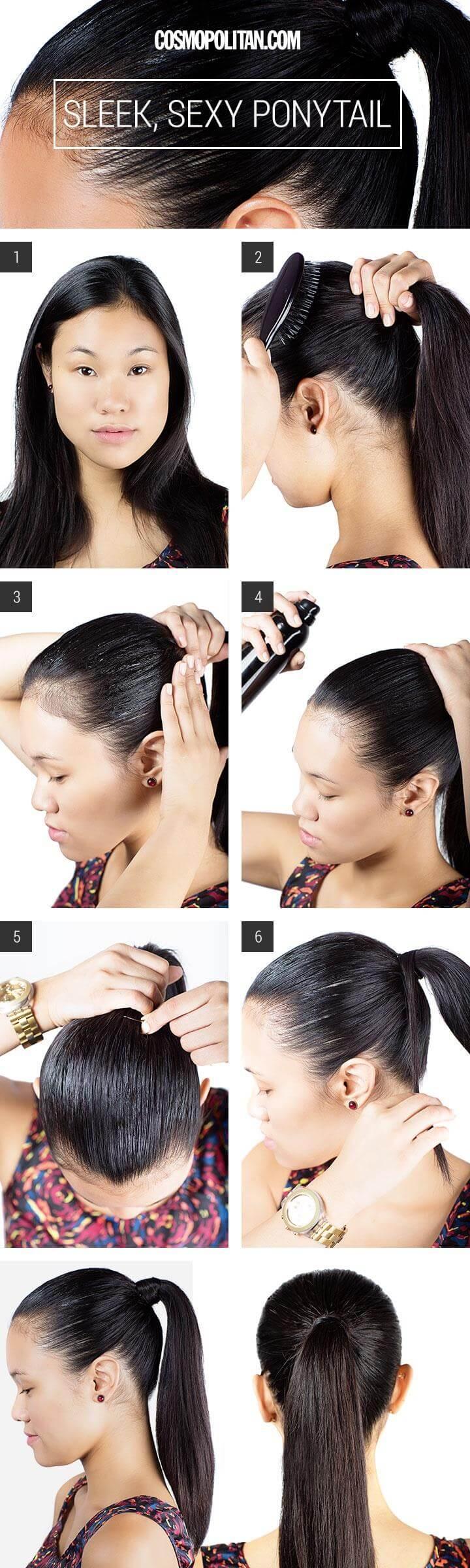 awesome slicked-back sleek ponytail hairstyle