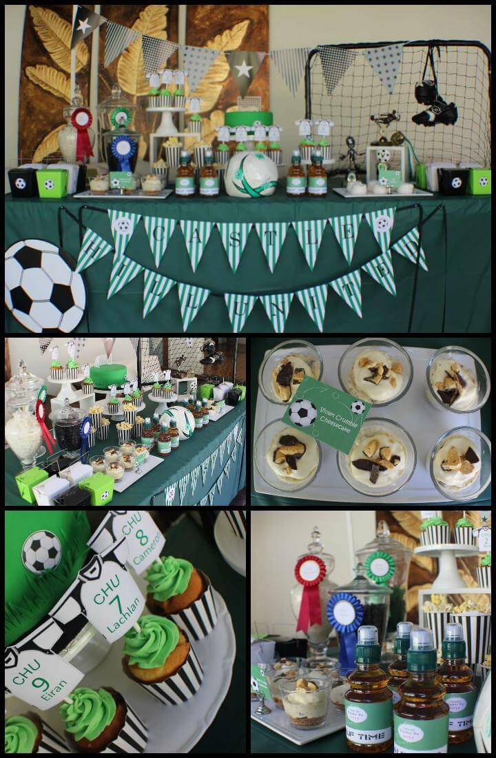 cheap yet beautiful soccer graduaton party decor theme