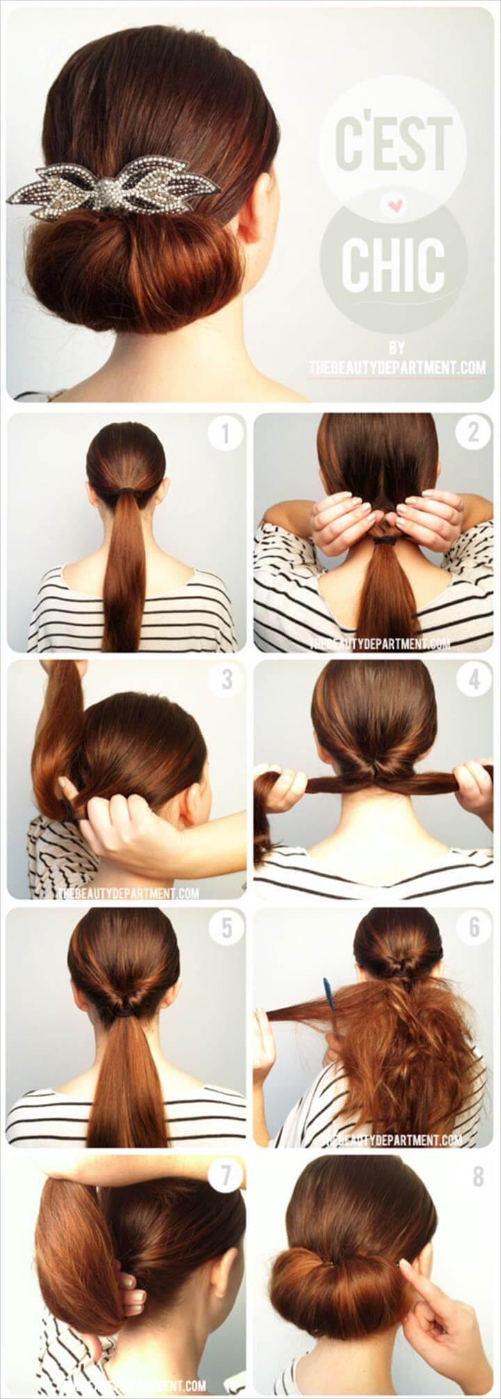 easy the twist flip bun hairstyle