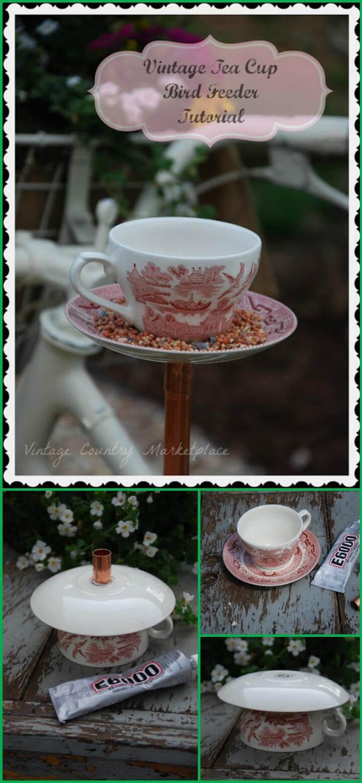 easy vintage tea cup bird feeder