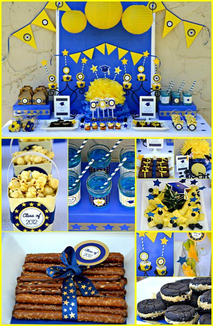 yellow and blue graduation party theme