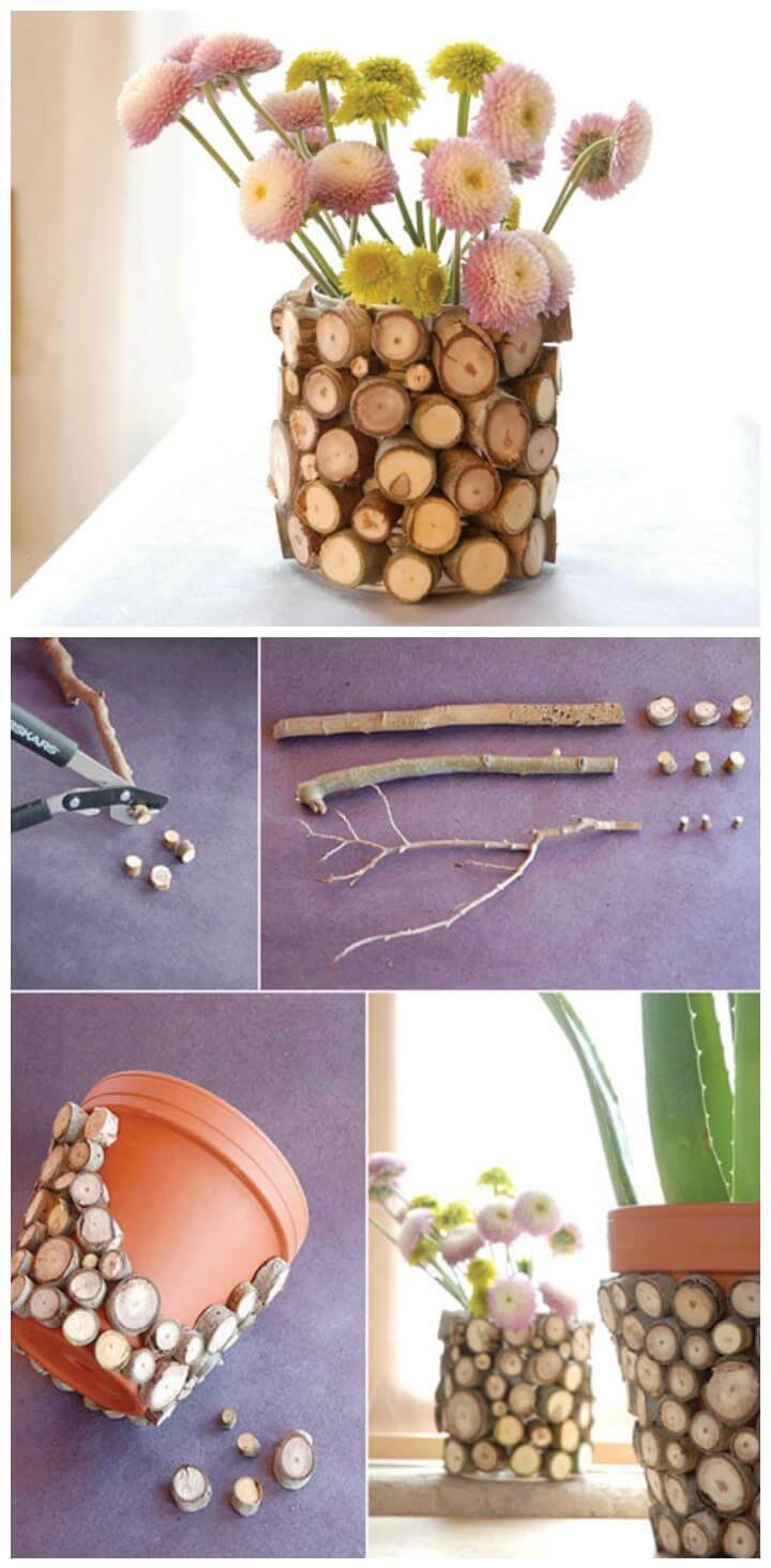 DIY wood slice vase