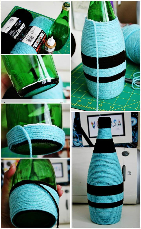 DIY yarn wrapped old bottle vase
