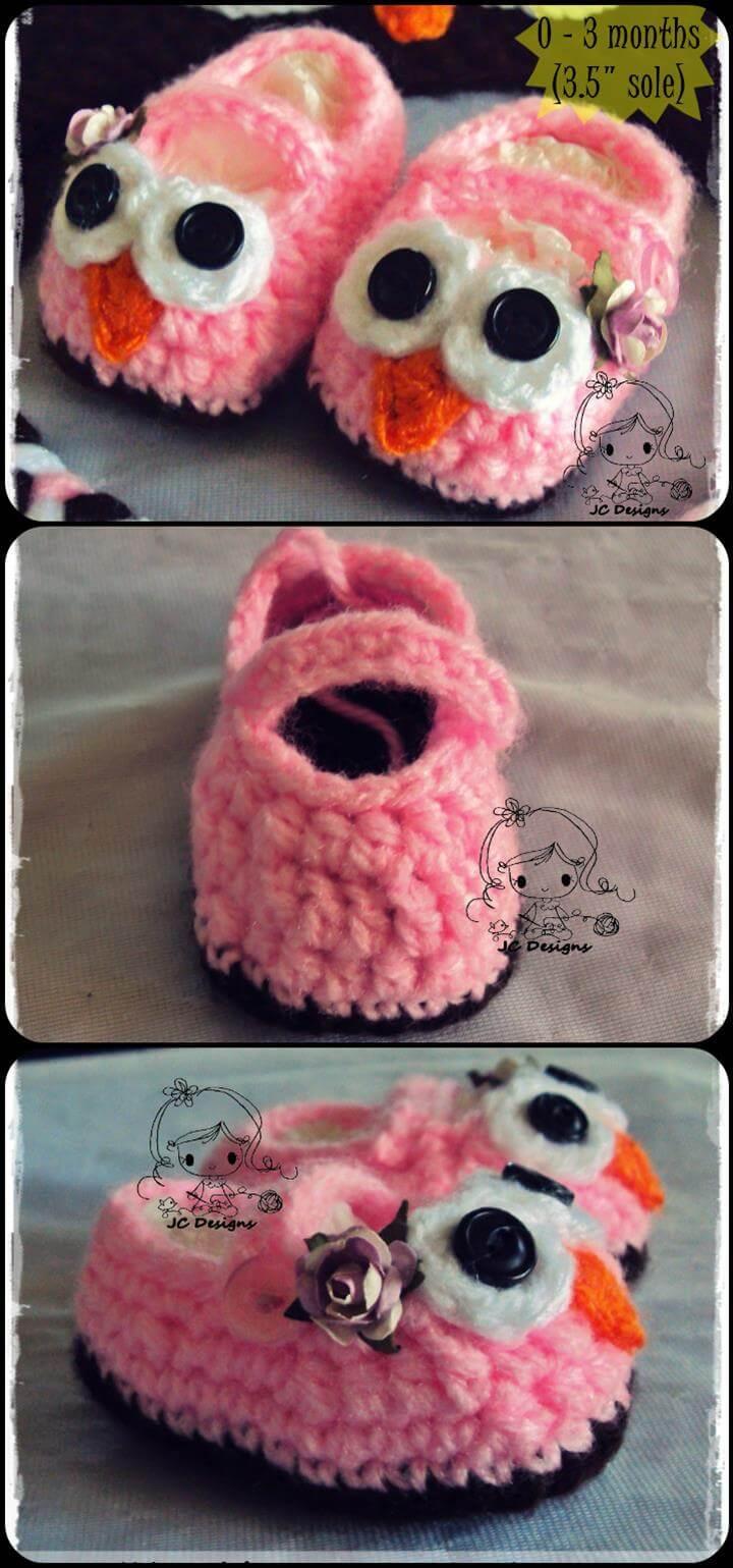 super cute crochet owl baby booties