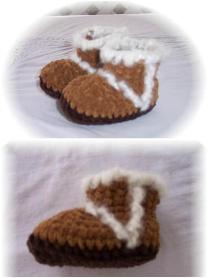 easy and free crochet ugg looking baby shoes pattern