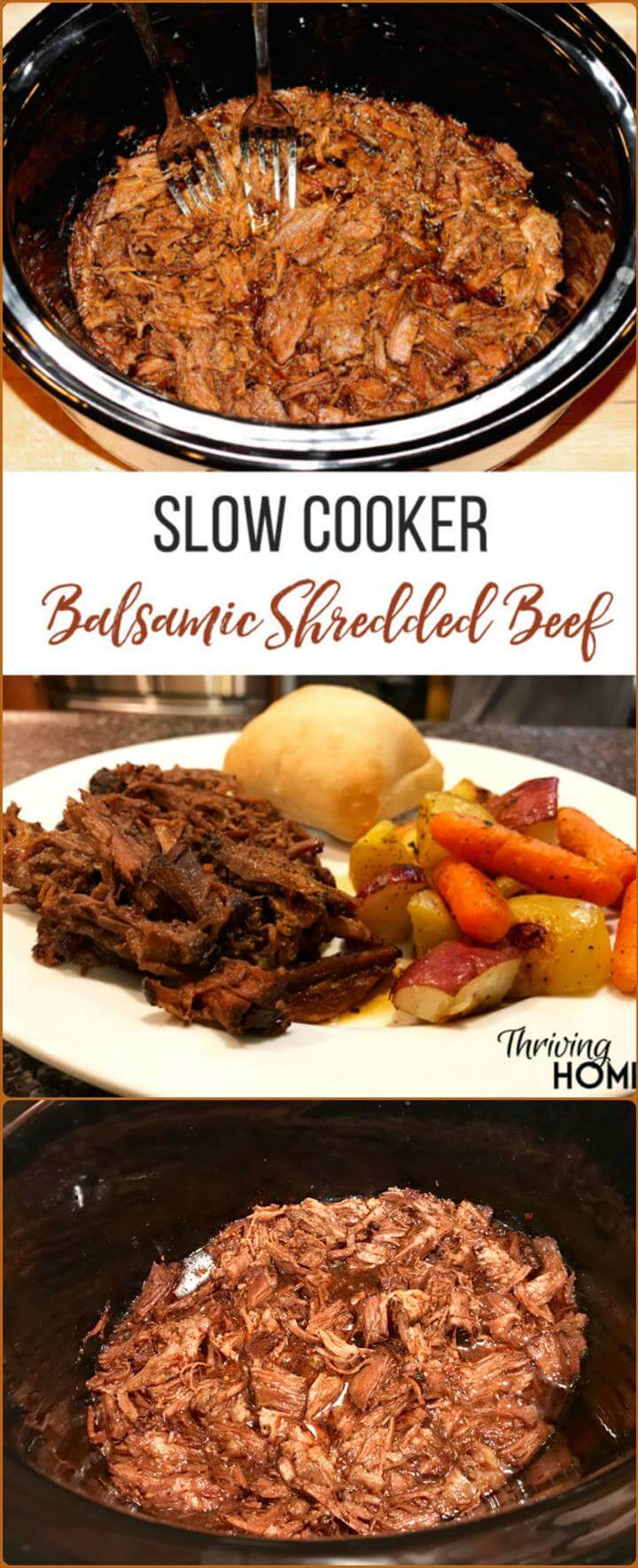 slow cooker balsamic shredded beef crowd meal