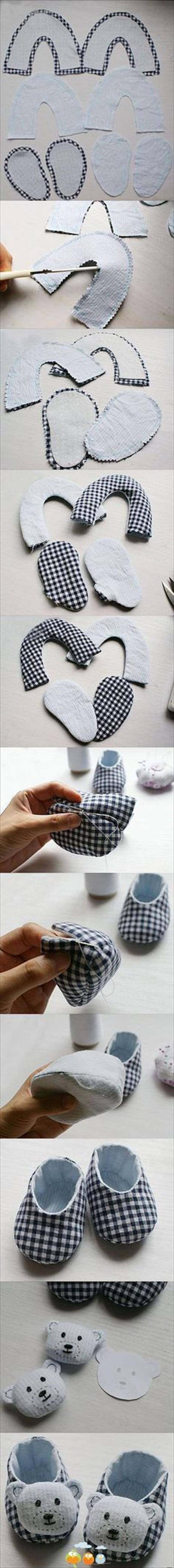 handmade animal inspired DIY baby booties