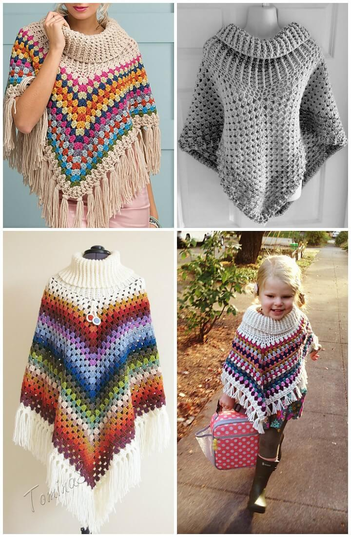 Free Crochet Patterns For Cowl Neck Poncho : 50 Free Crochet Poncho Patterns for All - DIY & Crafts