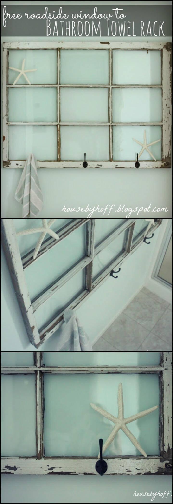 repurposed antique roadside window bathroom towel rack