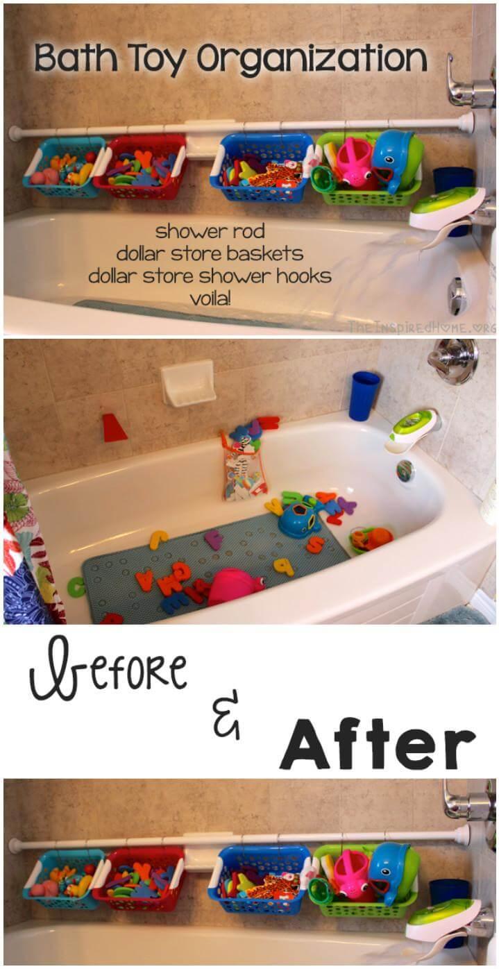 easy baby bath toy organization