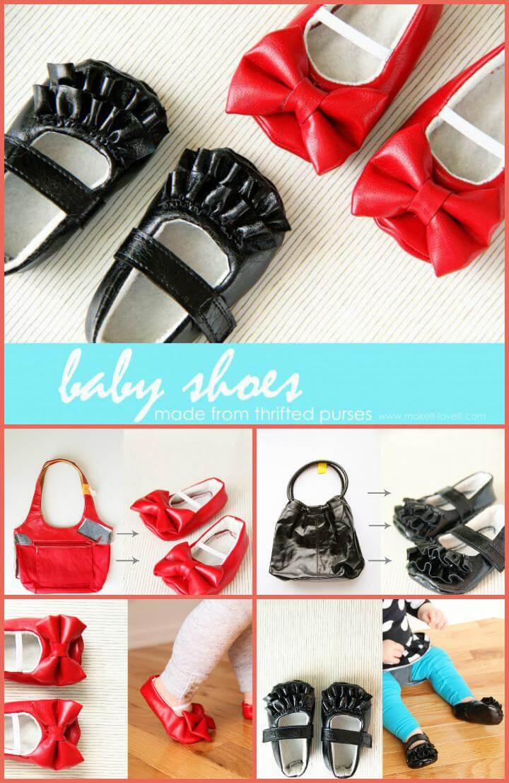 baby shoes made from old handbags
