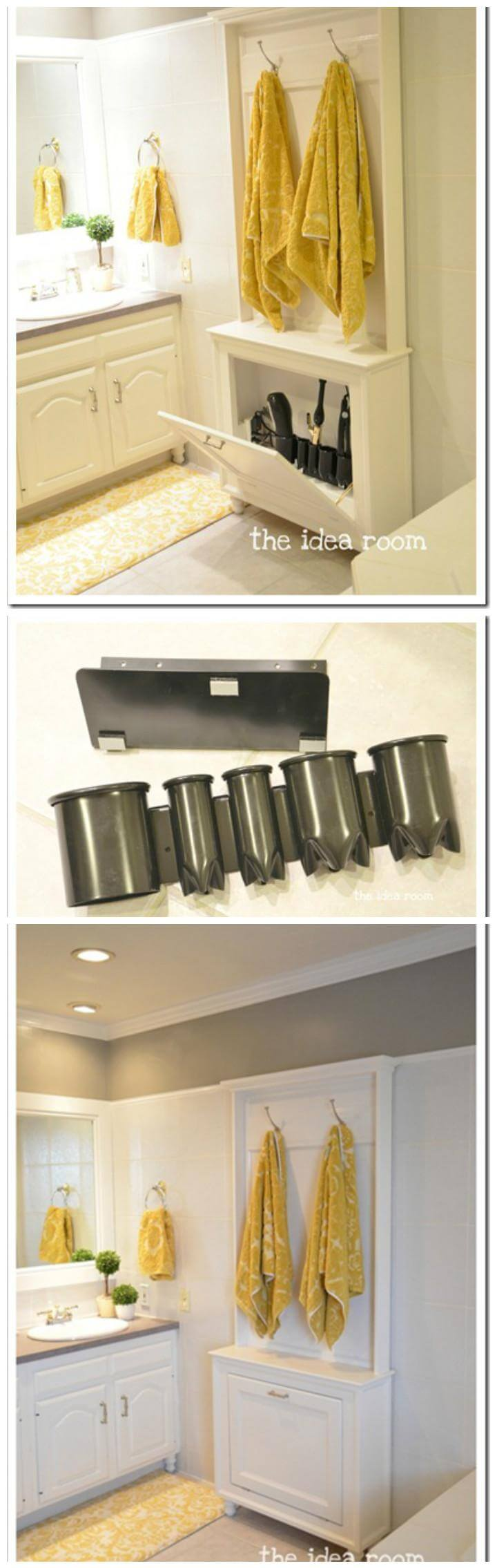 easy bathroom hair tool storage idea