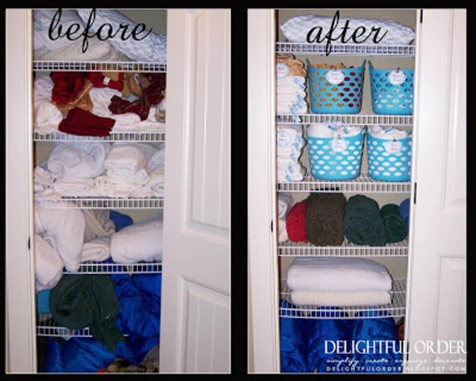 DIY bathroom linen closet organization