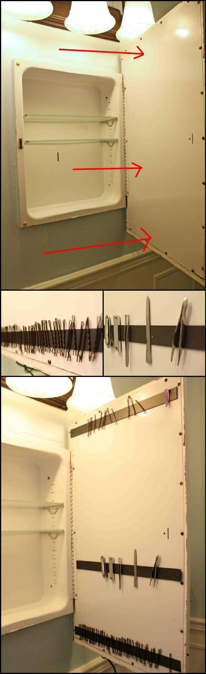 DIY bathroom magnetic stripe idea
