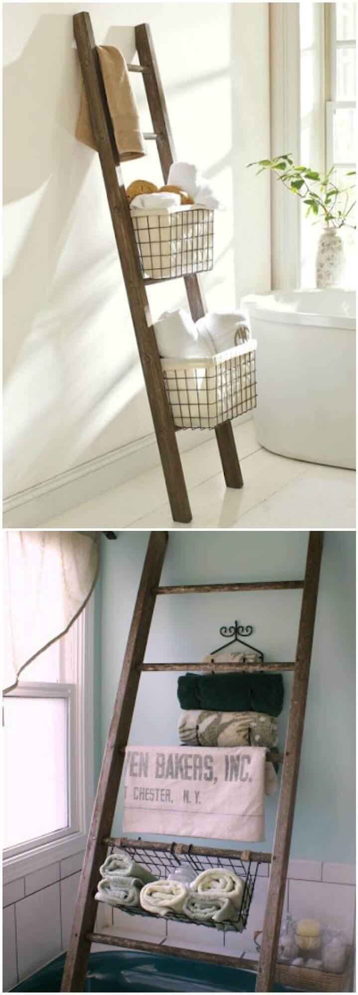 reclaimed ladder bathroom storage idea