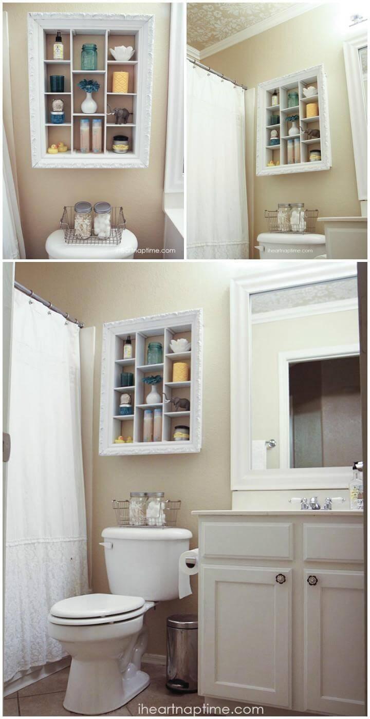 self-made bathroom storage shelf