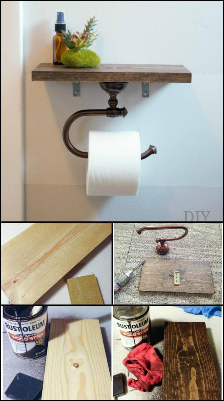 self-made bathroom toilet paper roll holder with shelf