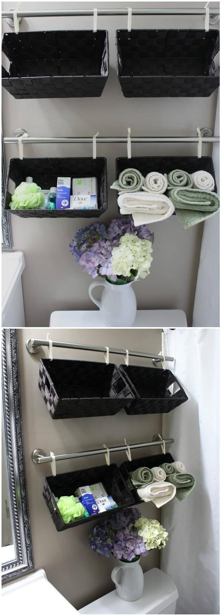 Self-installed bathroom wall hanging storage baskets