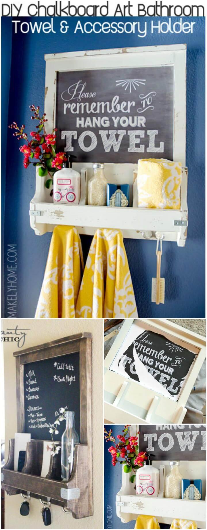 handmade chalkboard art towel rack and bathroom accessory organizer