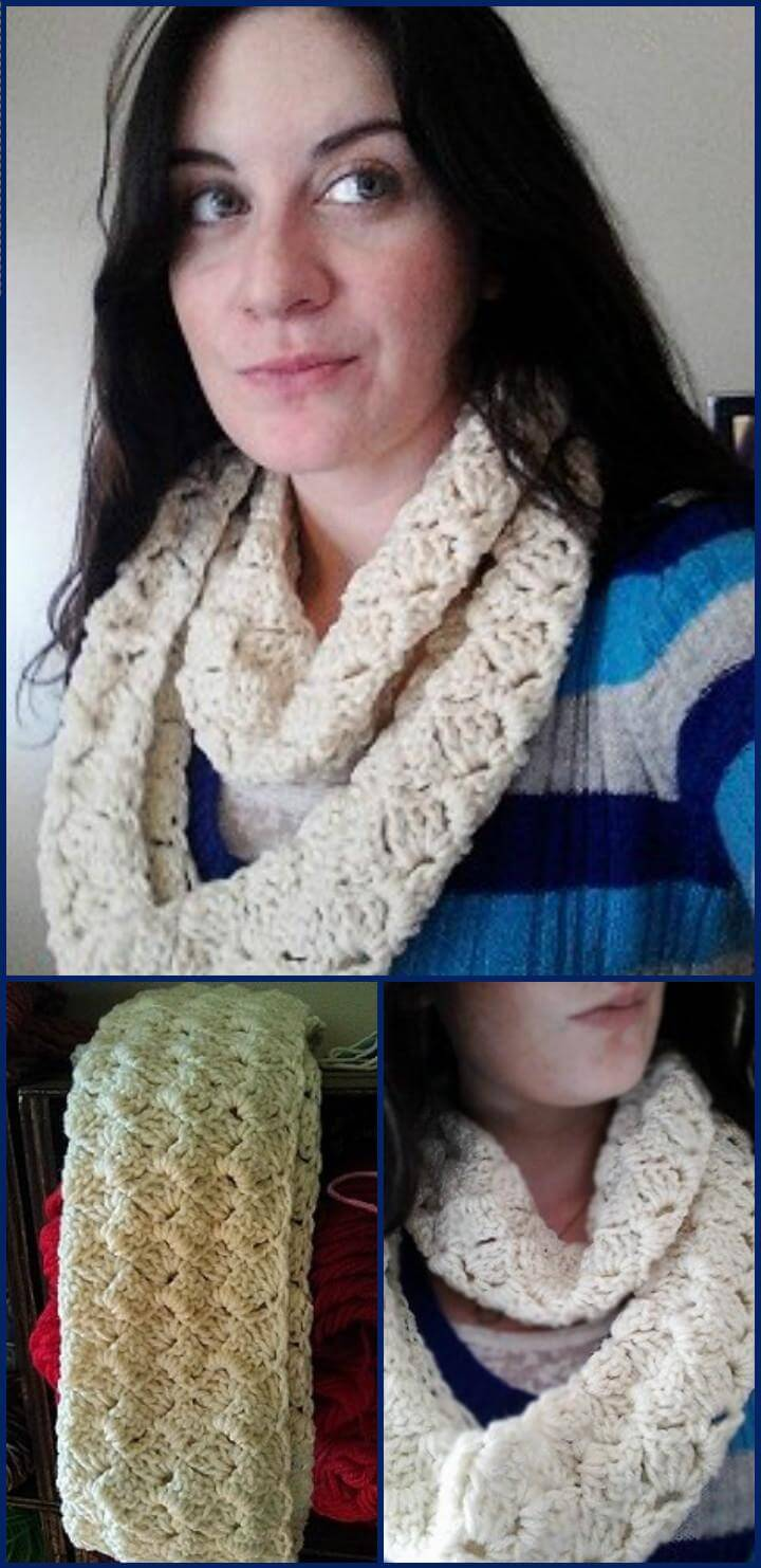easy and crazy shell crochet infinity scarf free pattern