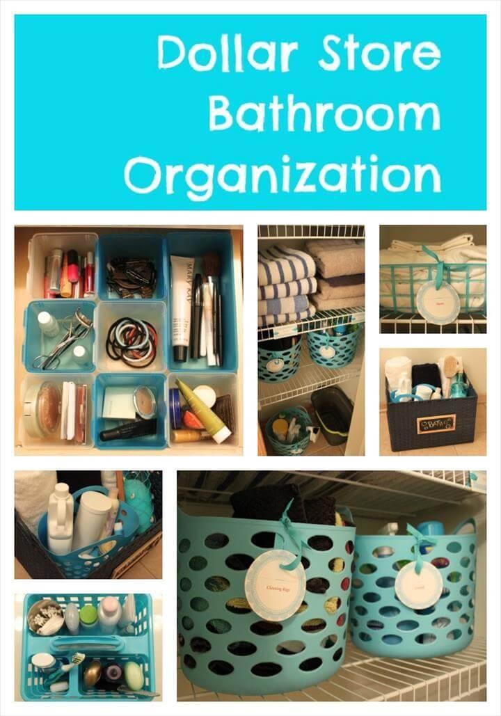 easy dollar store bathroom organization