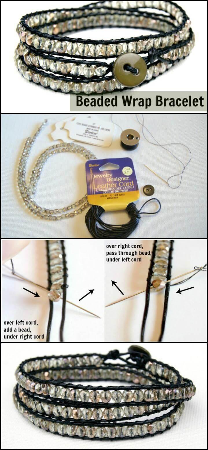 self-made beaded wrap bracelet